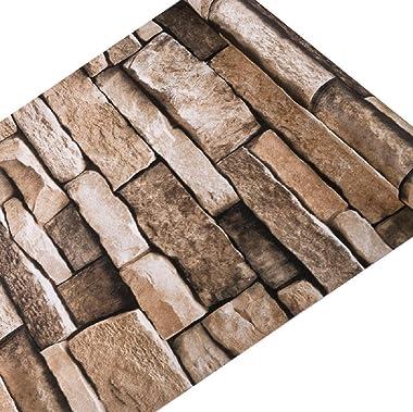 Wallgenics Self-Adhesive Waterproof Brick Wallpaper for Wall, Vinyl Military Brown Stone Wall Paper Roll for Bedroom Living R