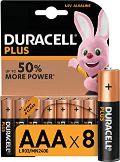 Duracell Plus AAA Alkaline Batteries [Pack of 8], 1,5 Volts LR03 MN2400