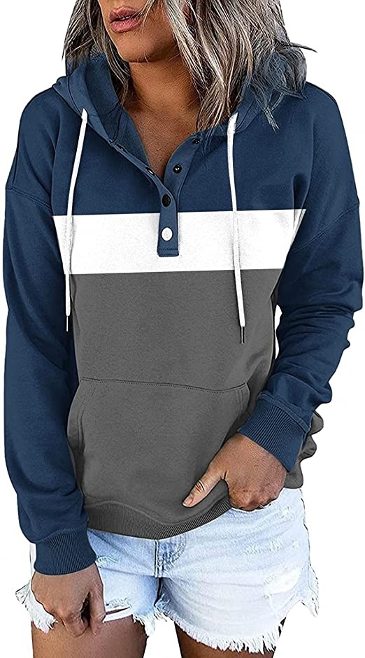 Womens Solid Color Hoodies Pullover Casual Long Sleeve 1/4 Button Down Drawstring Pocket Sweatshirt Tunic Falll Tops
