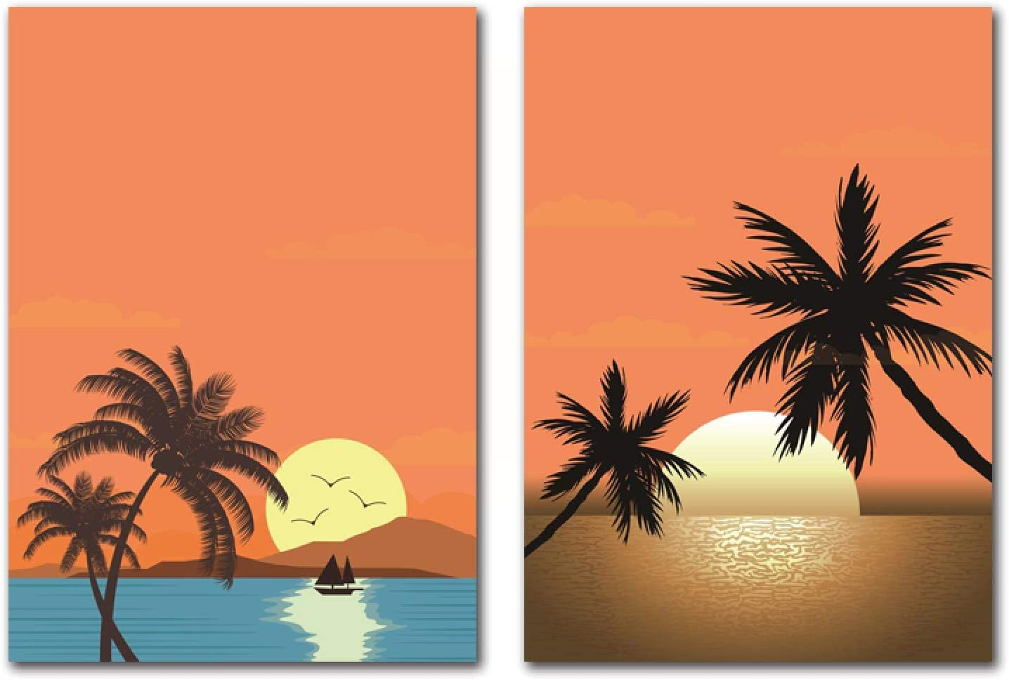 2 Panels Canvas Wall Art Seascape Poster Weekly update Painting Print Abstract Max 60% OFF