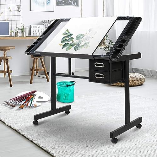 Drawing Desk Artiss Ajustable Tempered Glass Top Metal Base Art & Craft Drafting Desk Table Workstation with Removabl...
