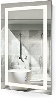 Krugg LED Bathroom Mirror 18 Inch X 30 Inch | Lighted Vanity Mirror Includes Dimmer and Defogger | Wall Mount Vertical or Horizontal Installation |