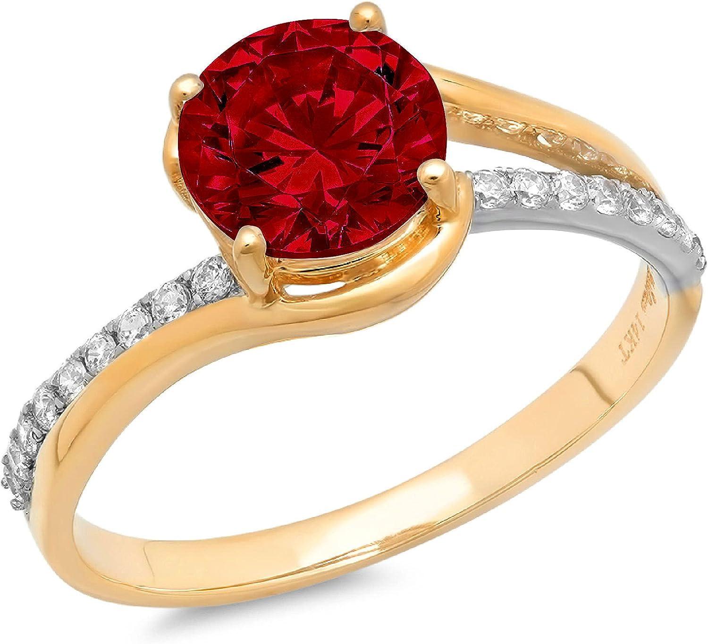 Clara Pucci 2.03 ct Brilliant Round Cut Solitaire Stunning Genuine Flawless Natural Red Garnet Gem Designer Modern Statement Accent Ring Solid 18K 2 tone Yellow Gold