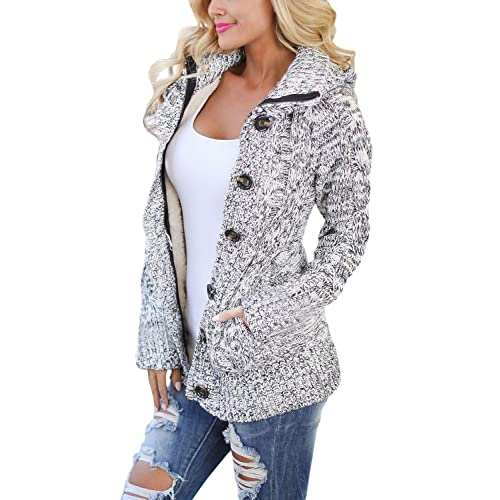058916fb7cf Astylish Women Hooded Knit Cardigans Button Down Cable Sweater Coat
