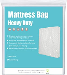 HOMEIDEAS 5 Mil Super Thick Mattress Bags for Moving, Storage or Disposal Queen/King - Heavy Duty & Tear and Puncture Resistant - 1 Pack
