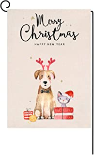 Ujuuu Merry Christmas Garden Flag Christmas Dog Small Xmas Decorative House Yard Flag Vertical Double Sided Happy New Year...