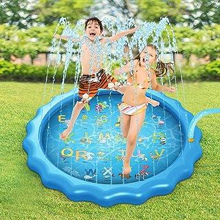 yorten Alfombrilla de juegos de agua para niños, 170 cm, cojín inflable, alfombra de juegos para niños, en spray para agua, jardín, verano, césped, niños, Playmat juego de padres