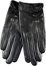 ELMA Supple Nappa Leather Artificial Silk Lined Gloves with Leather Bow Gold Plated Logo