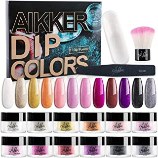 Aikker 12 Shiny Color Acrylic Dip Powder Nail Art Kit with Recycling Tray Brush File for Salon Home use AK17