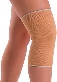 BraceAbility Plus Size Elastic Slip-on Knee Sleeve | Cotton Fabric Knee Pain Compression Bandage for Stretchy, Lightweight & Comfortable Support (2XL)