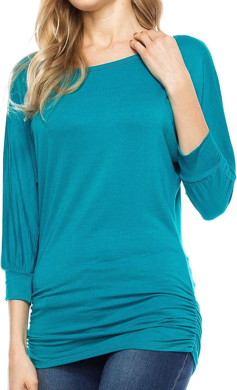 KAYLYN KAYDEN KLKD Women 3 4 Sleeve Drape Dolman Side Shirring Top Made in USA(S to Plus Size)
