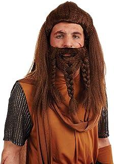 Fun Shack Marrón Peluca Vikinga Y Barba Peluca para Hombres - Un Tamaño