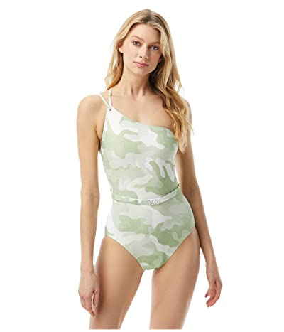MICHAEL Michael Kors Camo One Shoulder One-Piece with Logo Belt and Removable Soft Cups (Army Green) Women