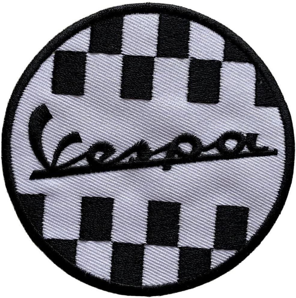 Vespa Scooter MOD SEW/Iron ON Patch:- Vespa Signature Vespa Check