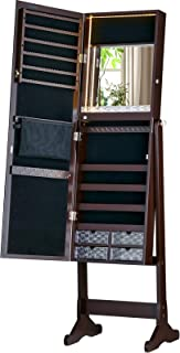 Luxfurni LED Light Jewelry Cabinet Standing Mirror Makeup Lockable Armoire, Large Storage Organizer w/Drawers