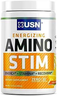 USN Energizing Amino Stim Sugar Free Energy Supplement - Energy, Stamina Recovery Powder with BCAAs, Pineapple Mango, 30 S...