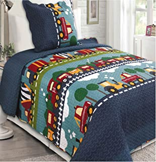 Better Home Style Space Galaxy World Kids//Boys//Toddler Coverlet Bedspread Quilt Set with Pillowcases and Robots Space Ships Rockets Flying Saucers and Planets Designs # 2019156 Twin
