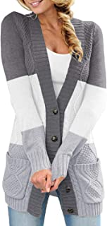 Sidefeel Women Open Front Pocket Cardigan Sweater Button...