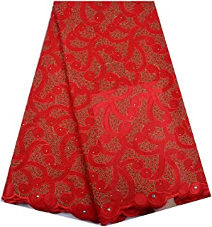 Swiss Voile Cotton Lace Fabric Design African Swiss Voile Lace in Switzerland Swiss Dry Laces for Party (Color : RED, Size : 5 Yards)