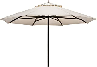 Telescope Casual Furniture Commercial Outdoor Market 11' Round Umbrella, Aged Bronze Frame, Lime Fabric