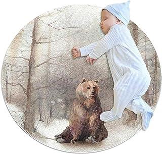 Snöig skog med björn, barn rund matta polyester överkast matta mjuk pedagogisk tvättbar matta barnkammare tipi tält lekmatta