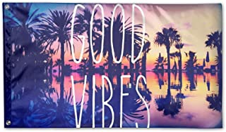 Garden Flag Good Vibes Outdoor Yard Home Flag Wall Lawn Banner Polyester Flag Decoration 3' X 5'