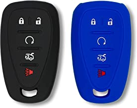 Autobase Silicone Key Fob Cover for 2019 2018 2017 Chevy Malibu Camaro Trax Traverse Sonic Cruze Volt Equinox Spark   Car Accessory for Chevrolet   Key Protection Case 2 Pcs (Black and Blue)