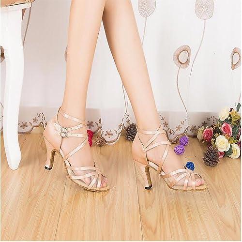 Masocking@ Femme Chaussures de Danse Sandales Volet Internet Cross Strap High-Heel Disciples Soft