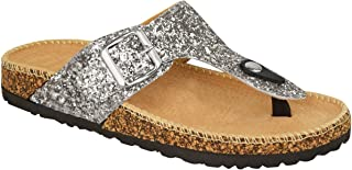 Fashion Thirsty Womens Flat Sandals Glitter Flip Flops Slip On Toe Post Thong Grip