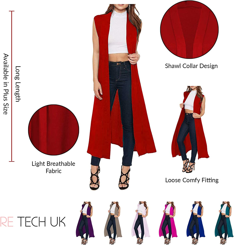 Re Tech UK - Damen Cardigan - ärmellos - lang - mit Kragen - fließender Stoff Lila