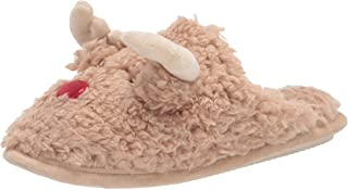 Dearfoams Women's Shay Giftable Holiday Themed Novelty Scuff Slipper, Reindeer, Large