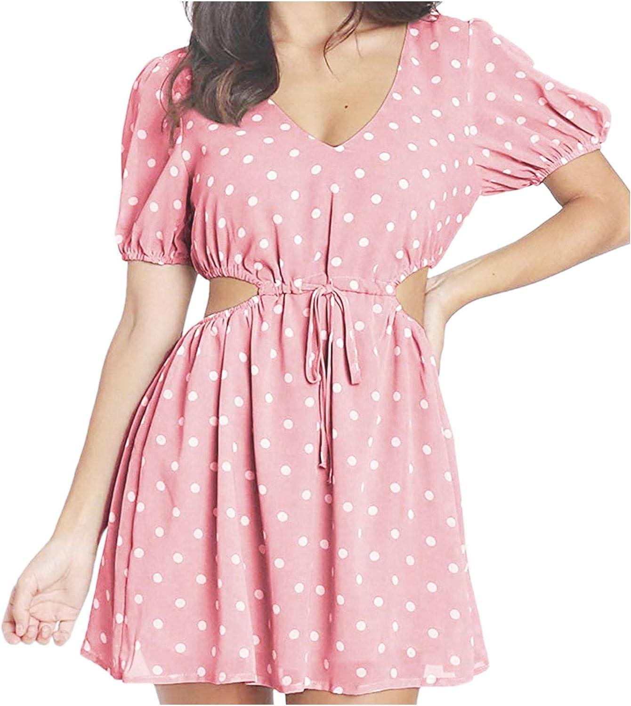 SHENYANGWA Womens Side Cutout Dress, Summer Casual V-Neck Hollow Out Polka Dot Knee-Length Women's Dress