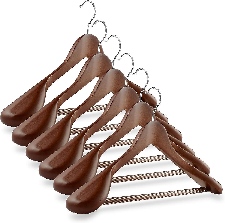 Casafield - 6 Walnut Wide Hangers Baltimore Mall Wooden lowest price Shoulder Suit Premium