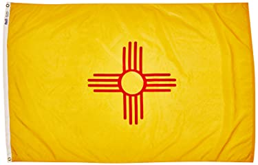 Annin Flagmakers Model 143770 New Mexico Flag Nylon SolarGuard NYL-Glo, 4x6 ft, 100% Made in USA to Official State Design Specifications
