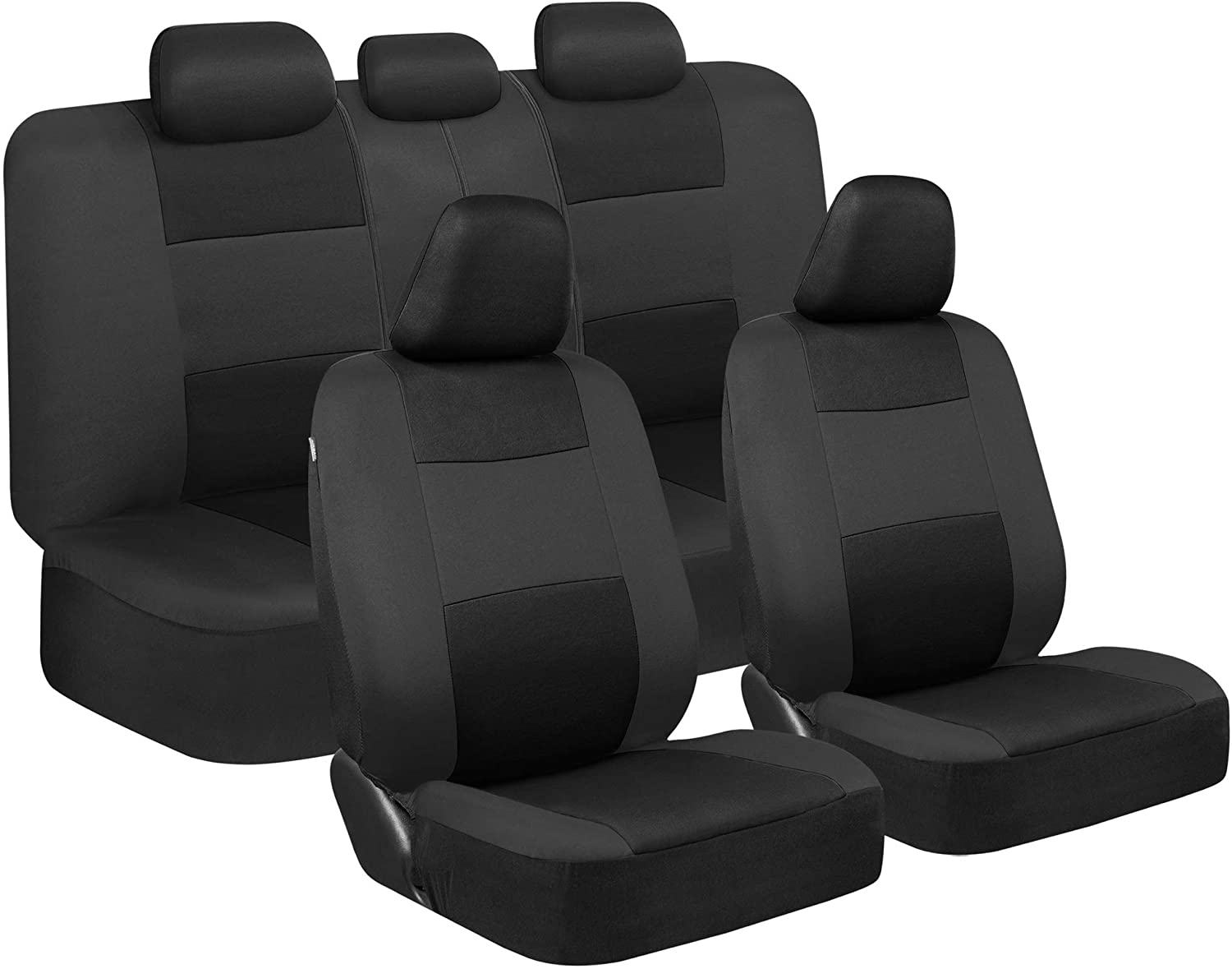 BDK PolyPro Car Seat Covers Full Set in Black on Charcoal – Front and Rear Split Bench Protection, Easy Install with Two-Tone Accent, Universal Fit for Auto Truck Van SUV