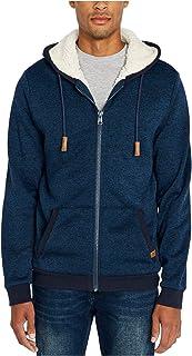 Buffalo David Bitton Mens Sweater Blue Large L Sherpa Zip Front Hooded