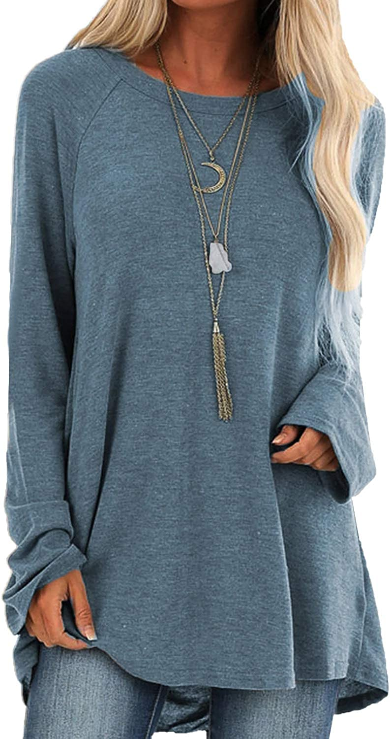 Happy Sailed Womens Tunic Tops for Leggings Long Sleeve Round Neck Oversized Shirt High Low Blouse Sweatshirts S-XXL