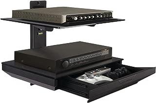 Atlantic Two-Tier AV Component Shelf - Tempered Glass Shelves with Drawer PN38435891 in Black
