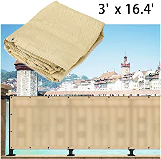 Skelang Privacy Screen Mesh Deck Fence Privacy Netting Shade (3'×16.4' Beige)