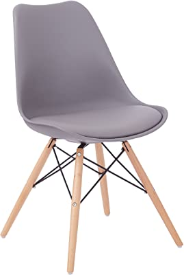 OSP Home Furnishings Allen Dining Chair with Natural Wood Legs, Grey