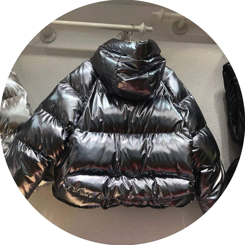 Glossy Down Jacket Women Short Coat Winter Jacket Women Casual Cotton Jacket Streetwear