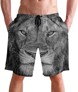 Beach Shorts, Vintage Lion Animal Printed Mens Trunks Swim Short Quick Dry with Pockets for Summer Surfing Boardshorts Out...