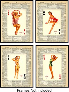 Upcycled Dictionary Wall Art Prints - Set of Four (8X10) Vintage Unframed Pinup Photos - Great for Poker and Card Players, Game Room, Bar, Man Cave and Chic Home Decor - Perfect Easy Gift