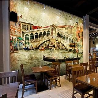 Mznm Photo Wallpaper Nostalgic Retro Venetian Town Oil Painting Wallpaper Western Restaurant Background Wall Mural Stereo Wallpaper -120X100Cm