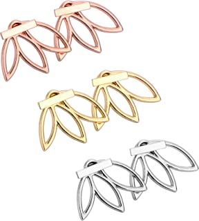 Hestya 3 Pairs Ear Jacket Stud Lotus Flower Earrings for Women and Girls (Silvery, Golden and Rose)