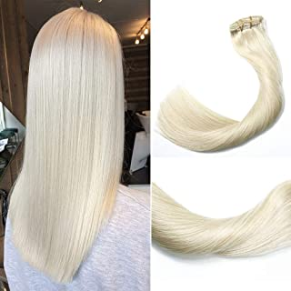 Clip in Hair Extensions 120 Grams/4.2 Ounce 100% Brazilian Remy Human Hair Extensions 9A Thickened Soft Silky Straight for Fashion Women 7pcs 17clips Full Head(22Inch Platinum Blonde #60)