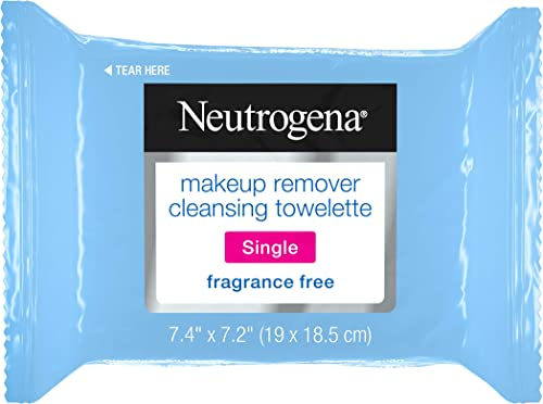 Neutrogena Fragrance-Free Makeup Remover Cleansing Towelette Singles, Individually-Wrapped Daily Face Wipes to Remove...