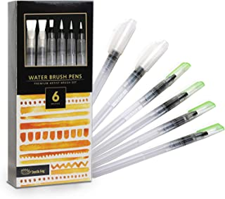 Doodle HOG 6 Piece Refillable Watercolor Brush Pen Set with Ultra Flex Tips and Dynamic Pinch Grip moisten Feature for Wat...