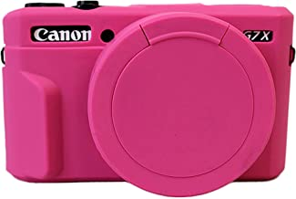 Removable Lens Cover Silicone Gel Rubber Soft Camera Case Cover For Canon PowerShot G7x Mark ii Camera Magneta