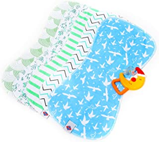 Paños de erucción para bebés de 19 pulgadas x 9 pulgadas con divertidos patrones de colores, incluye sonajero de bonificación, parte superior de algodón altamente absorbente con suave forro polar grueso, evita el desorden, regalo perfecto para baby B shower | paquete de 5